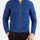 Men Vintage Slim Fit Blue Leather Jacket