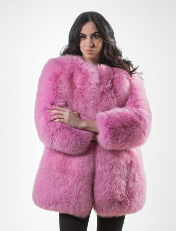 Pink Fluffy Fox Fur Jacket