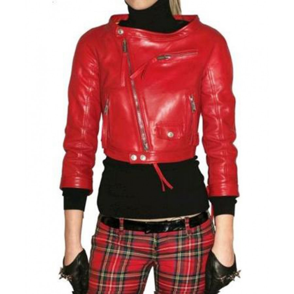 Rihanna Red Leather Jacket