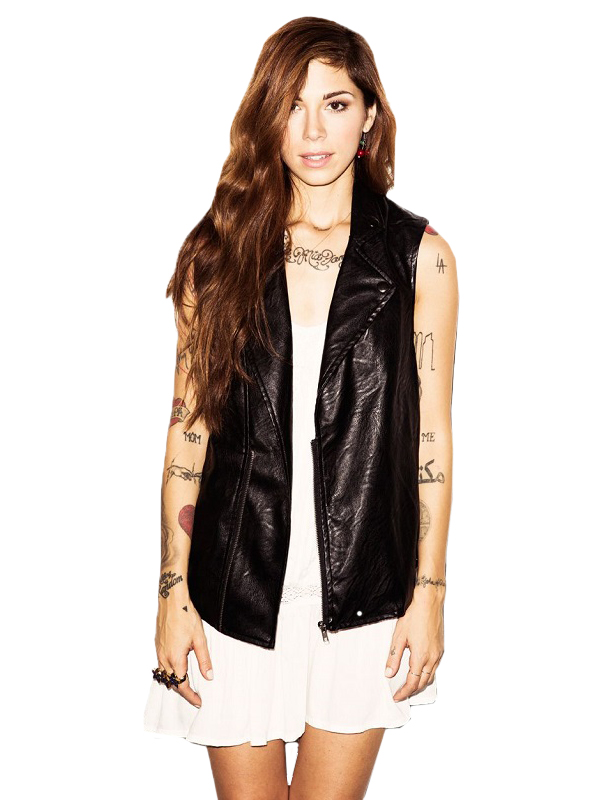 Singer Christina Perri Leather Vest