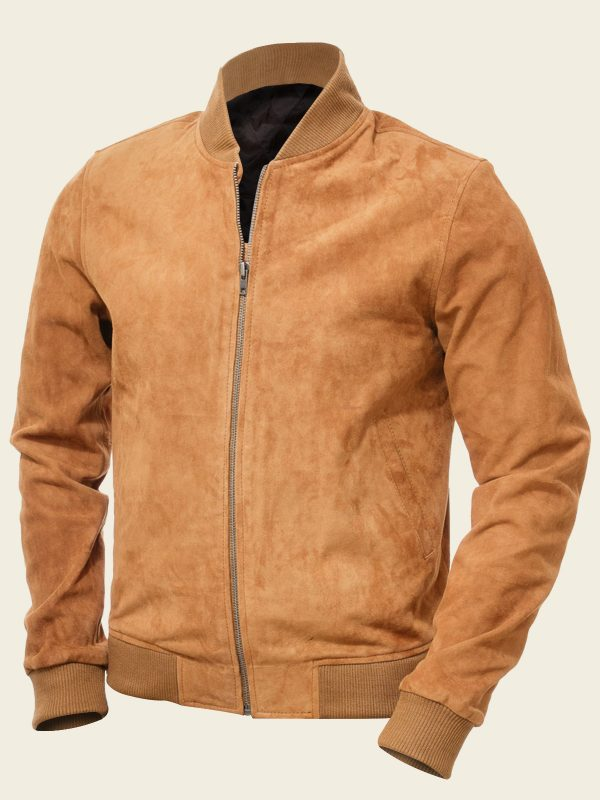 Tan Bomber Suede Leather Jacket