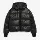 Womens Faux Leather Puffer Jacket