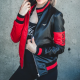 Womens Harley 51 50 Bomber Black And Red Leather Jacket
