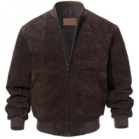 Adamsville Dark Brown Bomber Suede Leather Jacket