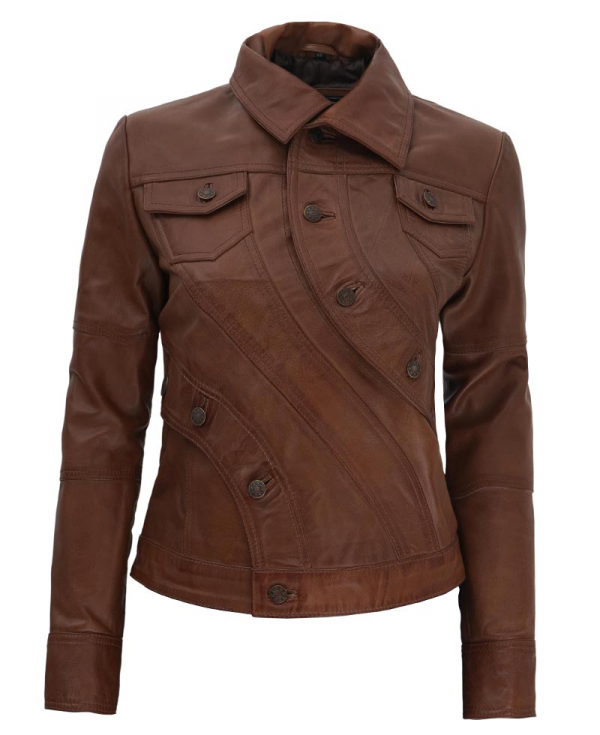 Audrey Button Style Brown Leather Moto Jacket