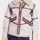 Aviator Style Mens White Waxed Leather Jacket