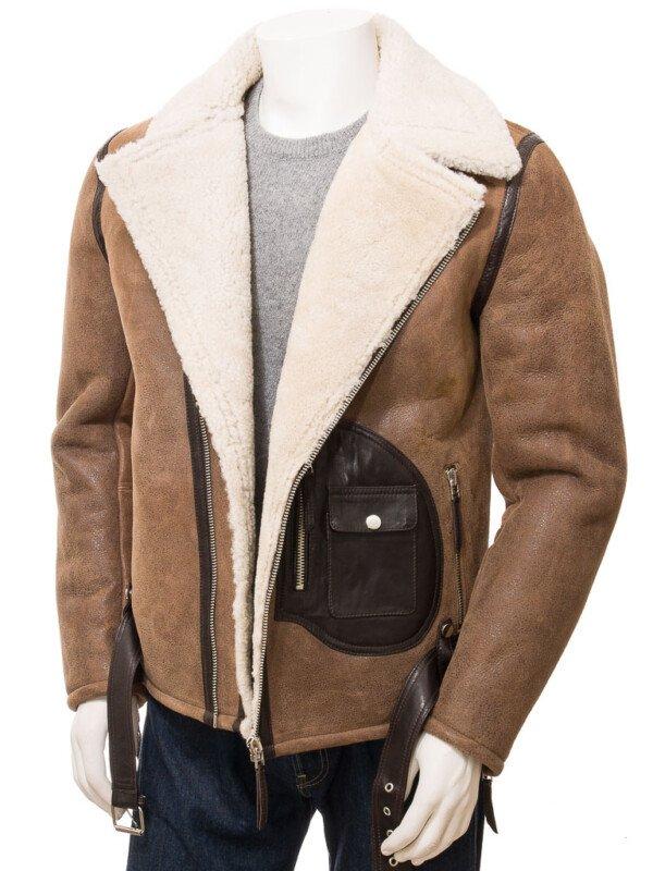 Brown Sheepskin Biker Leather Jacket