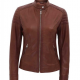 Carrie Padded Slim Fit Leather Jacket
