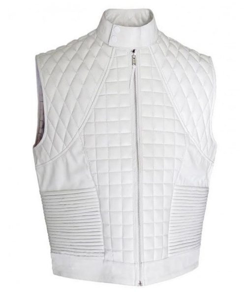 Justin Bieber White Leather Vest