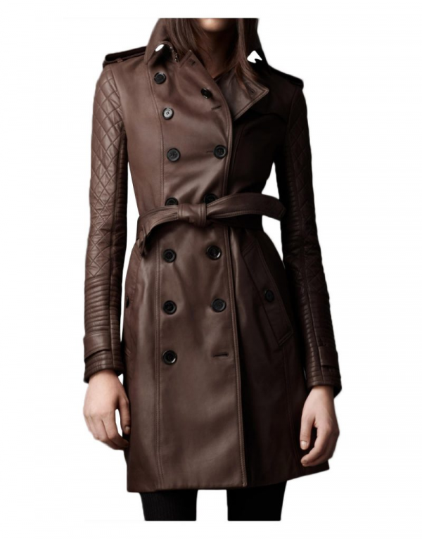 Kate Beckett Castle Stana Katic Trench Leather Jacket