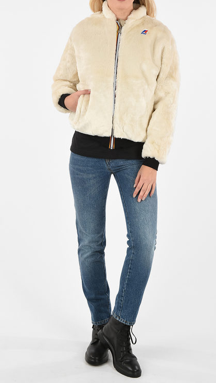 Kways Faux Fur Katie Beaver Peluche Bomber Jacket