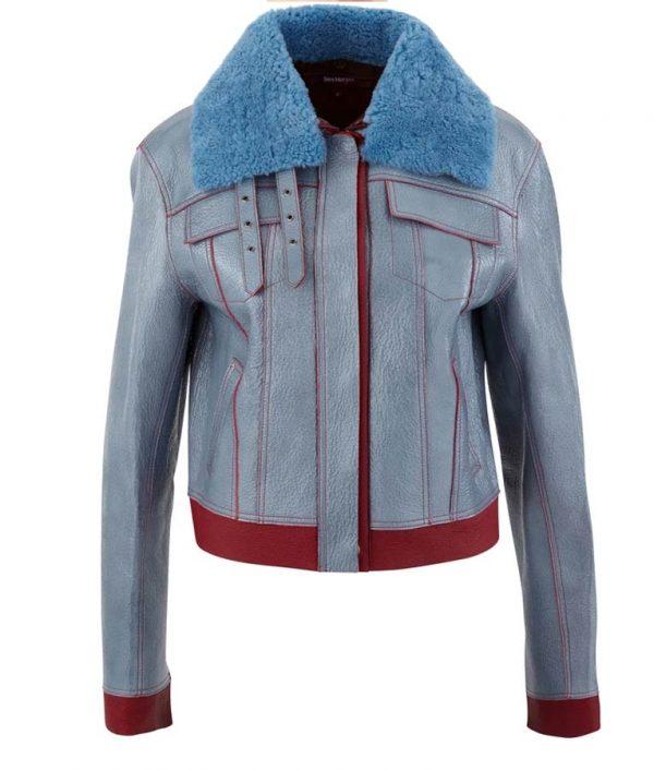 Love Life Sara Yang Shearling Collar Leather Jacket
