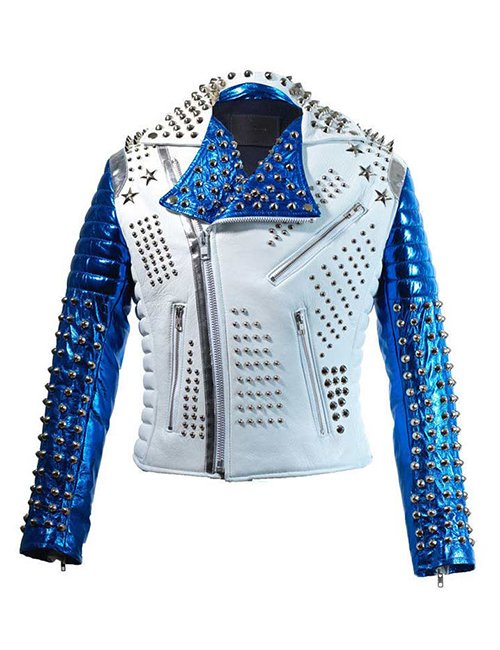 Silver Studded Punk White & Blue Biker Leather Jacket