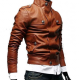 Slim Fit Biker Tan Button Front Brown Leather Jacket