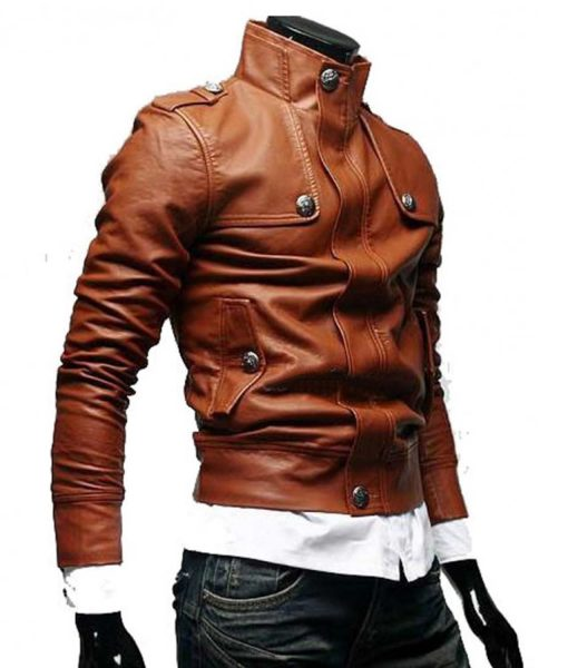 Slim Fit Biker Tan Button Front Brown Leather Jacket