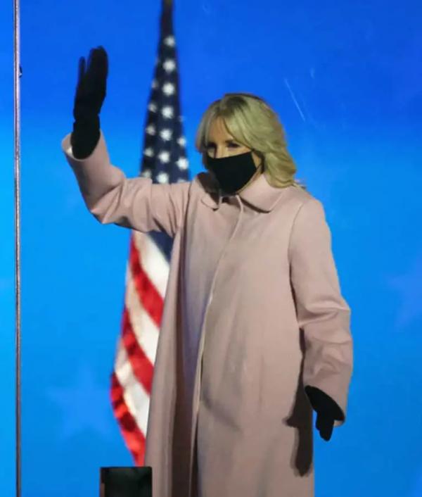 Jill Biden Pink Wool Trench Coat