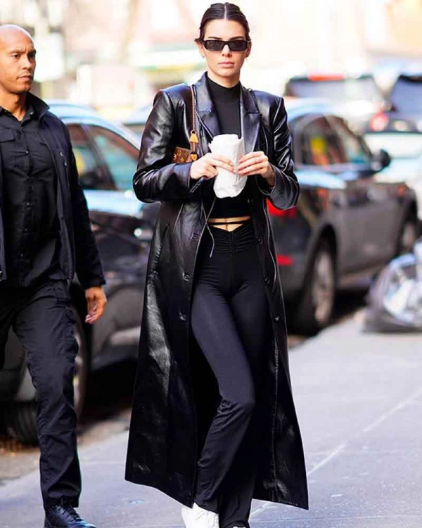 Kendall Jenner Leather Trench Coat