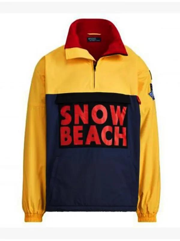 Snow Beach Black & Yellow Polo Cotton Jacket