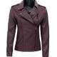 Allyson Asymmetrical Purple Leather Jacket