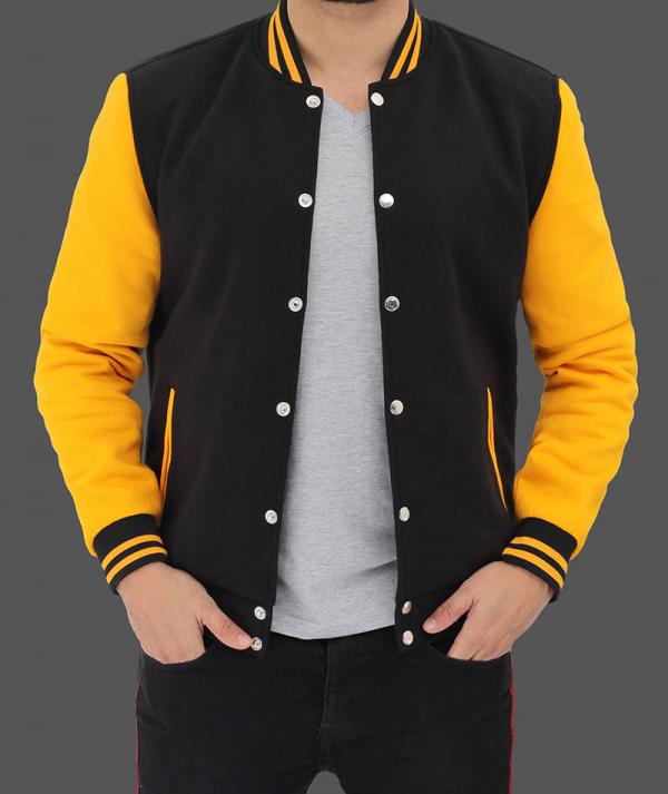 Baseball Style Black And Yellow Varsity Jacket