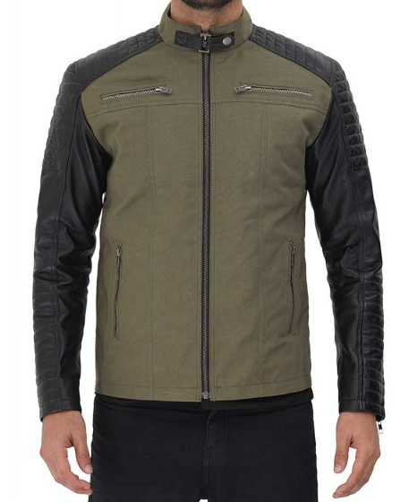 Black And Green Cotton Cafe Racer Leather Jacket