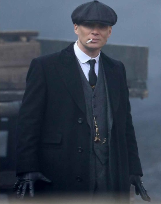 Cillian Murphys Peaky Blinders Thomas Shelby Black Wool Coat