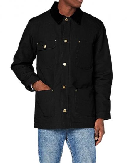 Classic Black Cotton Chore Coat