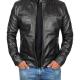 Dodge Black Lambskin Biker Style Leather Jacket