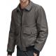 Flap Pockets Shirt Collar Grey Leather Bomber Jacket