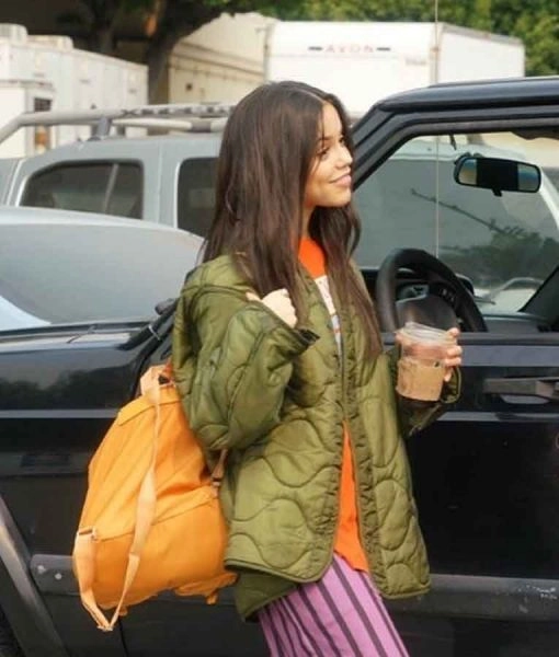 Jenna Ortega The Fallout 2021 Green Quilted Parachute Jacket