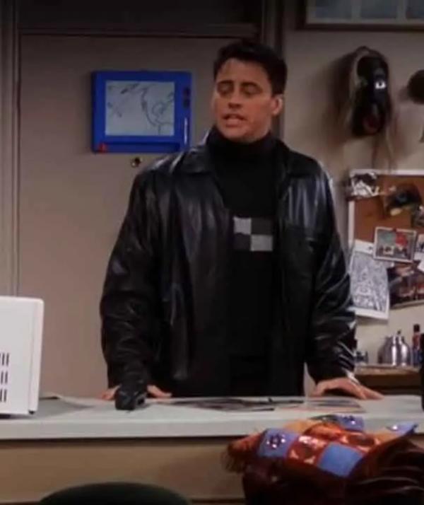 Joey Tribbiani TV Series Friends S07 Matts LeBlanc Black Leather Jacket