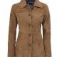 Kandis Brown Suede Leather Jacket