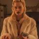 Margot Robbie Terminal Film Annie Fur White Coat