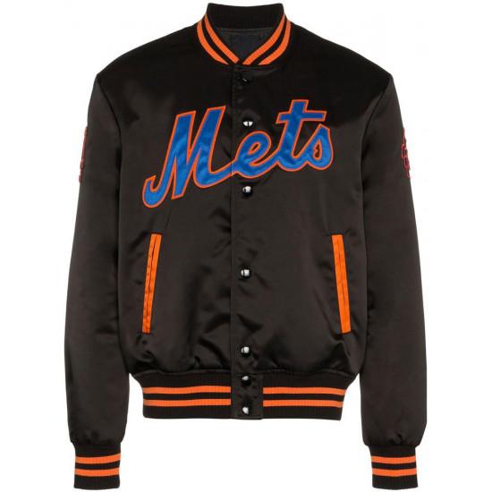 Mets New York Satin Black Bomber Jacket