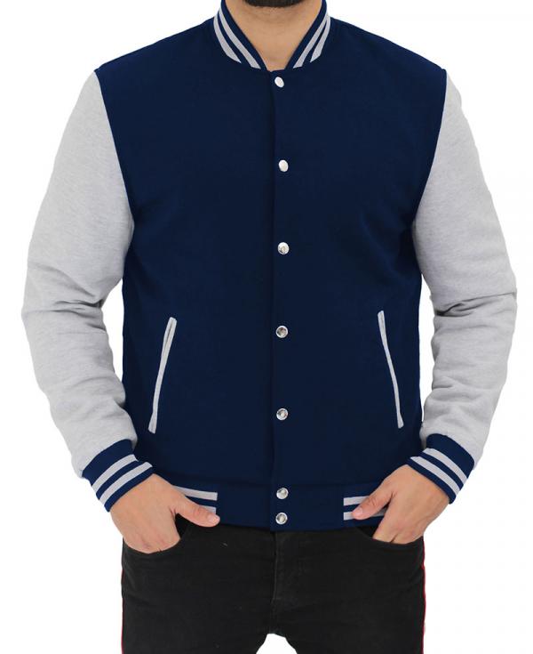 Navy Blue and Gray Varsity Fleece Jacket