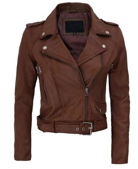 Nellie Asymmetrical Dark Brown Cropped Leather Jacket