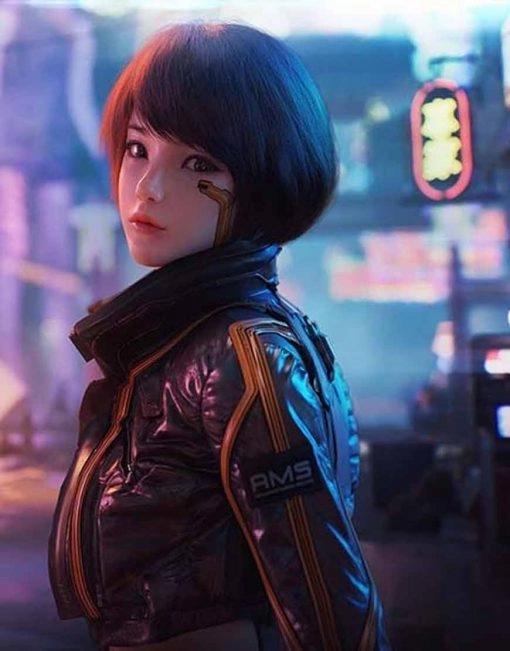 Syn Cyberpunk 2077 Black Leather Jacket