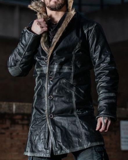 Warlock Grey Striped Fur Collar Leather Coat