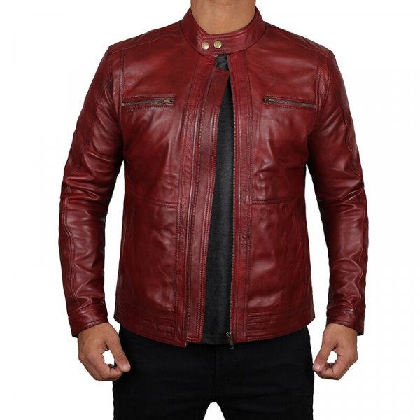 Wyoming Red Biker Leather Jacket
