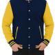 Yellow And Navy Blue Varsity Fleece Jacket