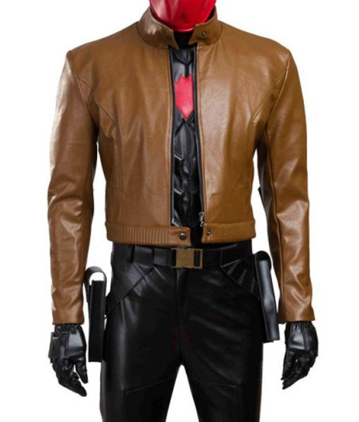 Batman Under the Red Hood Jason Todd Cropped Leather Jacket