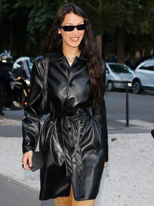 Bella Hadid Black Leather Trench Coat