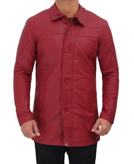 Bristol Maroon Leather Coat