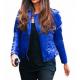 Camila Alves Biker Style Blue Leather Jacket