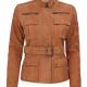 Carolyn Six Pocket Tan Field Leather Jacket