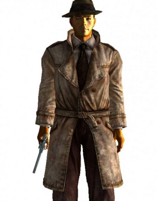 Classic Mysterious Stranger Fallout 4 Leather Belted Coat