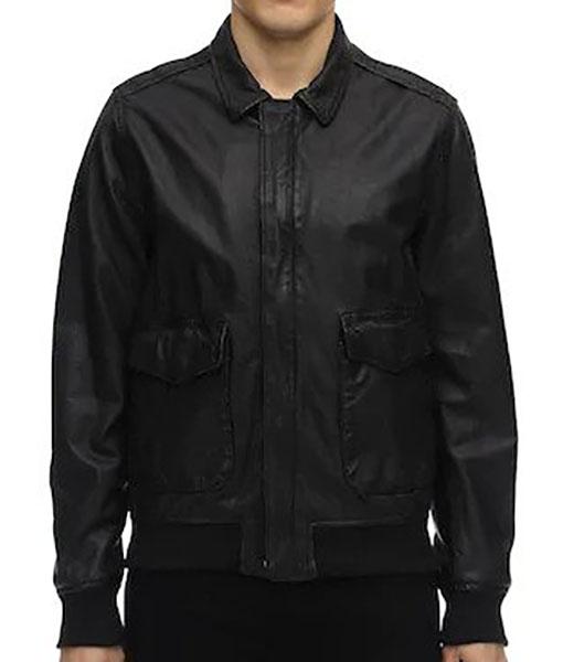 Covered Zipper Bomber Black Leather Jacket