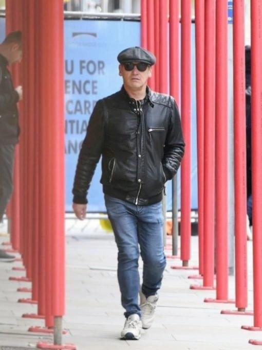 English Actors Sid Owen Black Bomber Leather Jacket