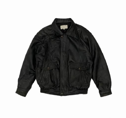 Fontelli Vintage Black Bomber Style Leather Jacket