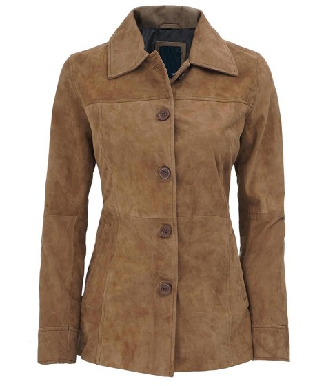 Kandis Light Suede Leather Coat